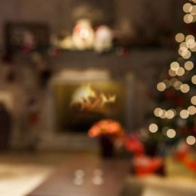 blurred home winter christmas tree lights