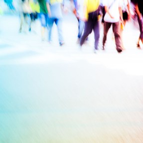 blurred people walking
