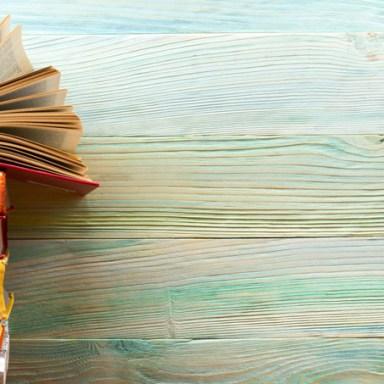 books against background light blue
