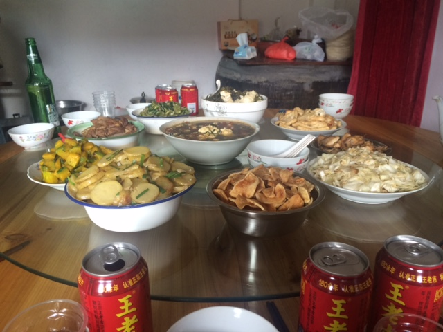 A delicious home cooked lunch in a Chinese village.