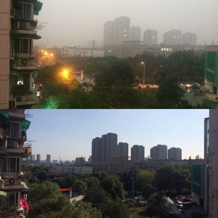 A clear day and a polluted day.