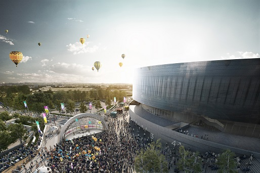 CGI of arena at sunset