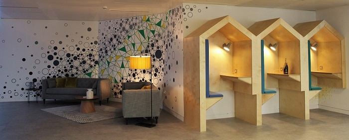 Office mural and pods