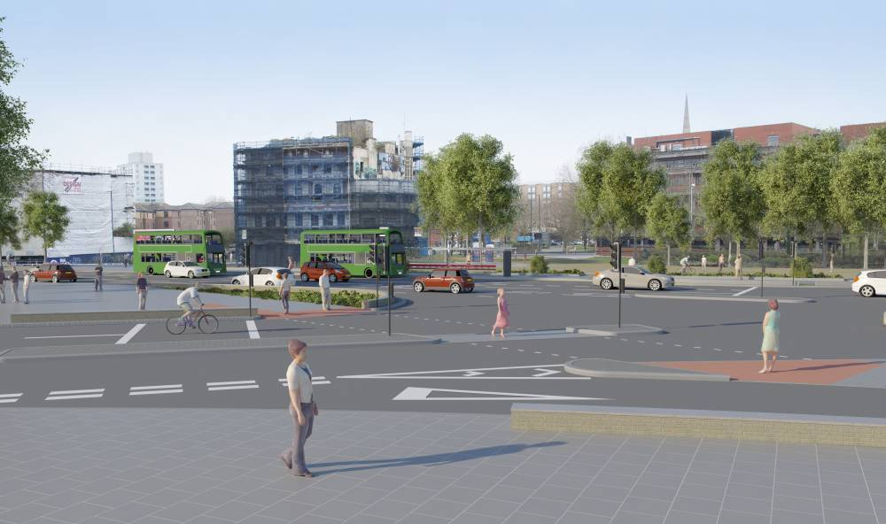 Road level view of new scheme