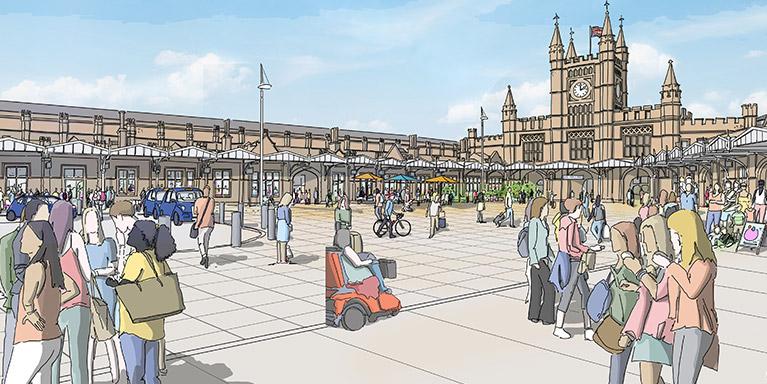 Temple Meads Station Artist Impression - Station Square Illustration