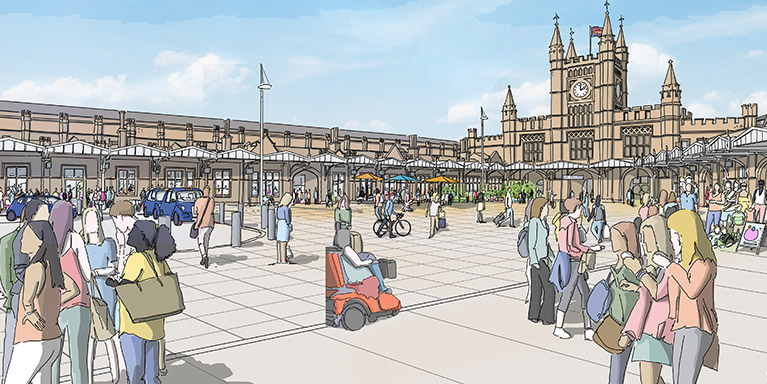 Temple Meads Station Artist Impression - Station Square Illustration