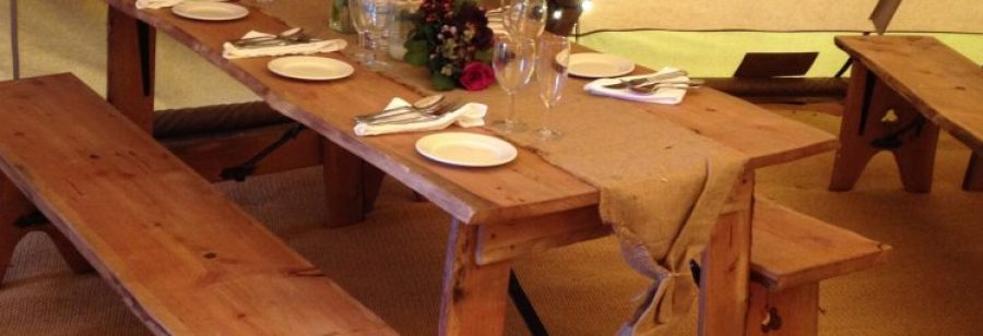 Rustic vintage table and bench hire