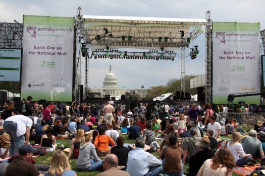 A crowd gathered to celebrate Earth Day