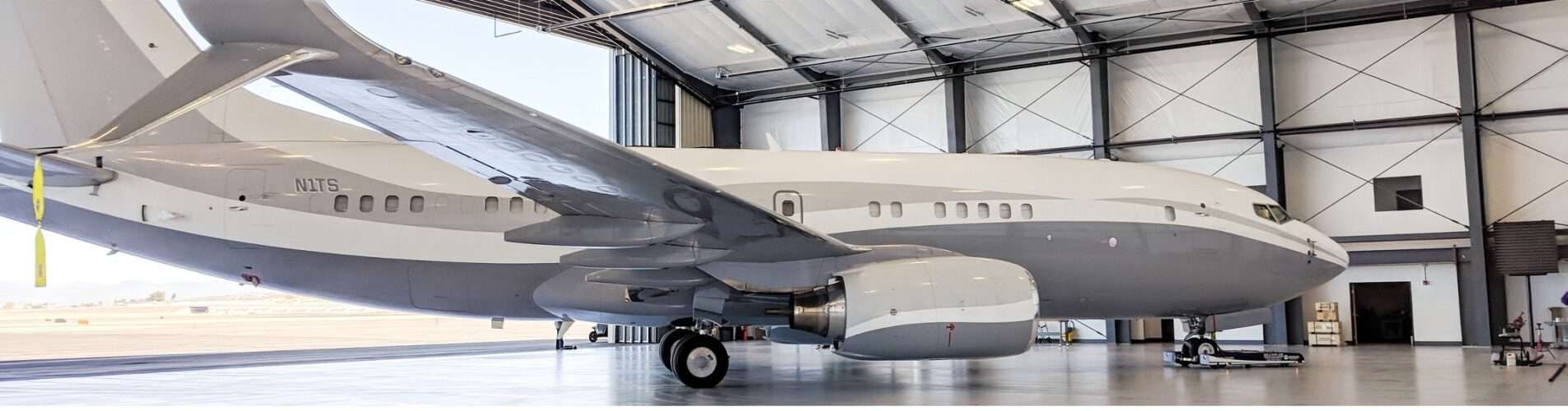 Aircraft Hangar with large airplane