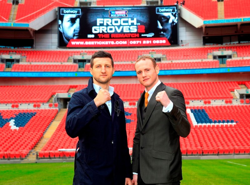 FROCH-GROVES REMATCH CONFERENCE  WEMBLEY STADIUM WEMBLEY PIC;LAWRENCE LUSTIG CARL FROCH AND GEORGE GROVES COME FACE TO FACE AT WEMBLEY STADIUM AND IT GETS A BIT HEATED AS FROCH SHOVES GROVES