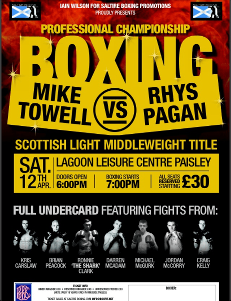Rhys Pagan vs Mike Towell - Scottish Light Middleweight title this Saturday