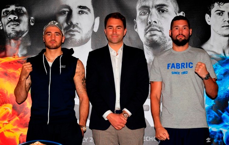 COLLISION COURSE PRESS CONFERENCEHILTON HOTEL,LIVERPOOLPIC;LAWRENCE LUSTIGPROMOTER EDDIE HEARN WITH NATHAN CLEVERLY AND TONY BELLEW