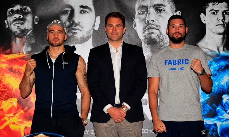COLLISION COURSE PRESS CONFERENCE HILTON HOTEL,LIVERPOOL PIC;LAWRENCE LUSTIG PROMOTER EDDIE HEARN WITH NATHAN CLEVERLY AND TONY BELLEW