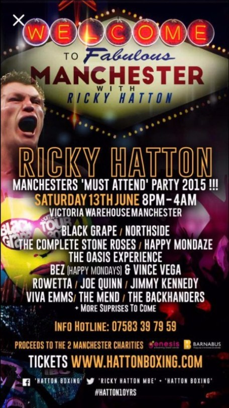 ricky hatton party night manchester tickets
