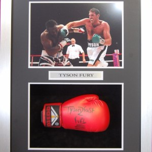 TYSON FURY SIGNED GLOVE IN FRAME