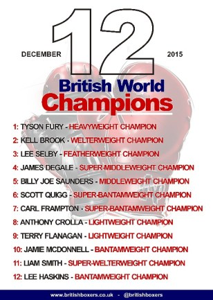 12 BRITISH WORLD BOXING CHAMPIONS