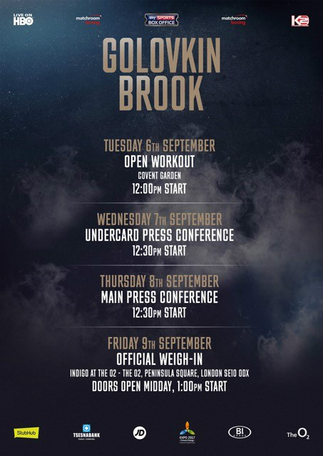 Golovkin Brook Fight Week Schedule