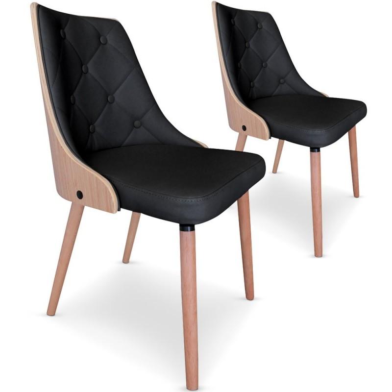 lot de 2 chaises scandinave chene clair et simili cuir noir