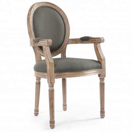 chaises medaillon louis xvi tissu gris lot de 2