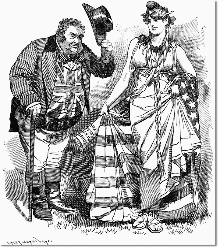 John Bull greets the maiden Columbia.