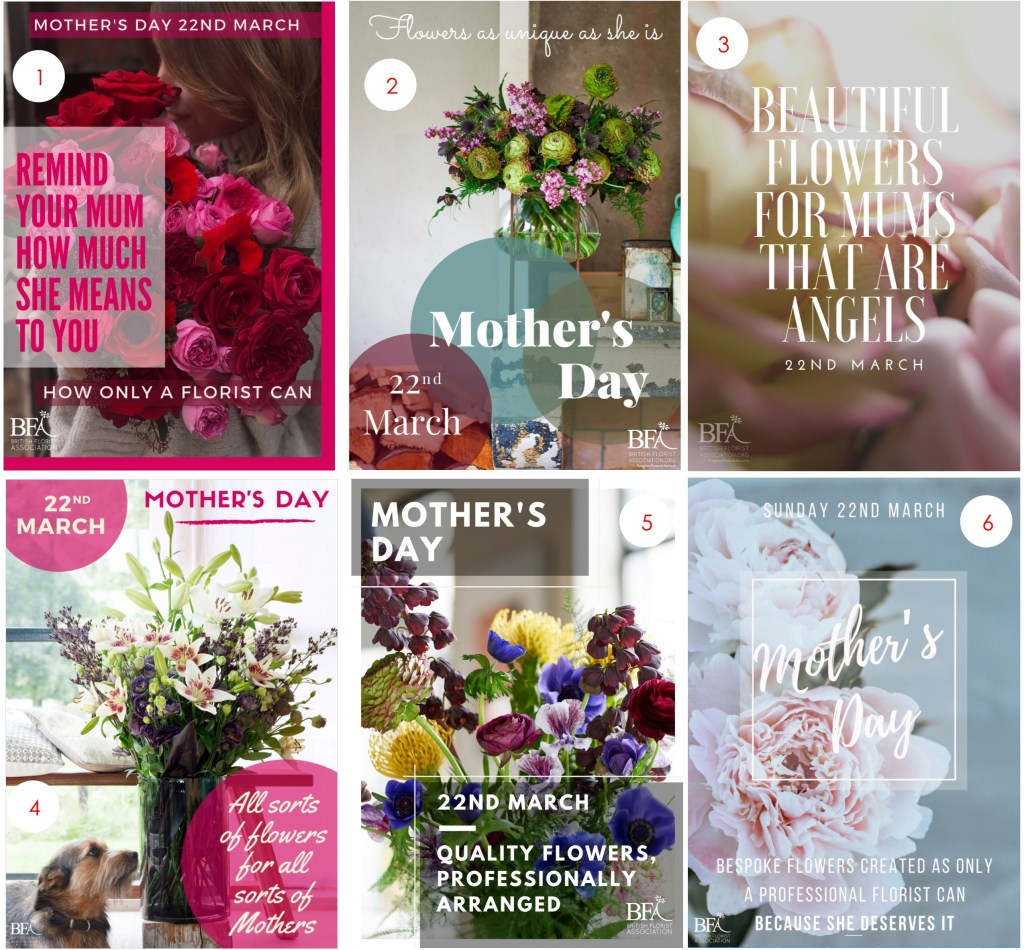 British Florist Association BFA Mothers Day posters 2020