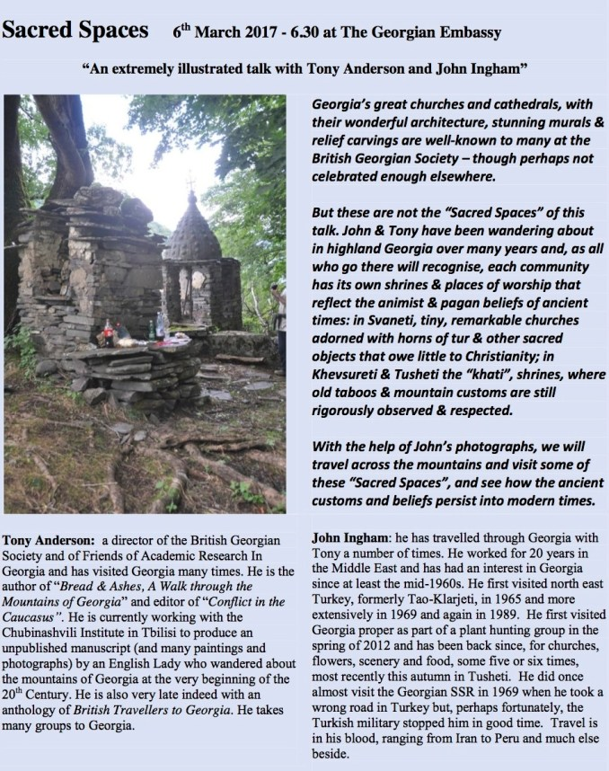 """Sacred Spaces """"An extremely illustrated talk with Tony Anderson and John Ingham"""" 6 March 2017"""
