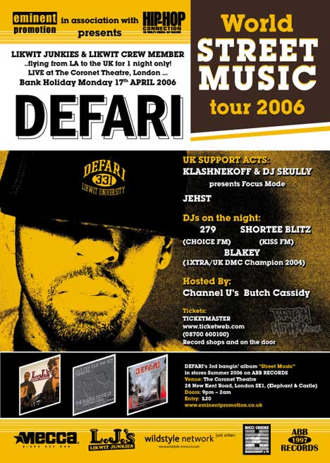 Defari Live In London, Bank Holiday Monday 17th of April at the Coronet Theatre, London in Elephant & Castle