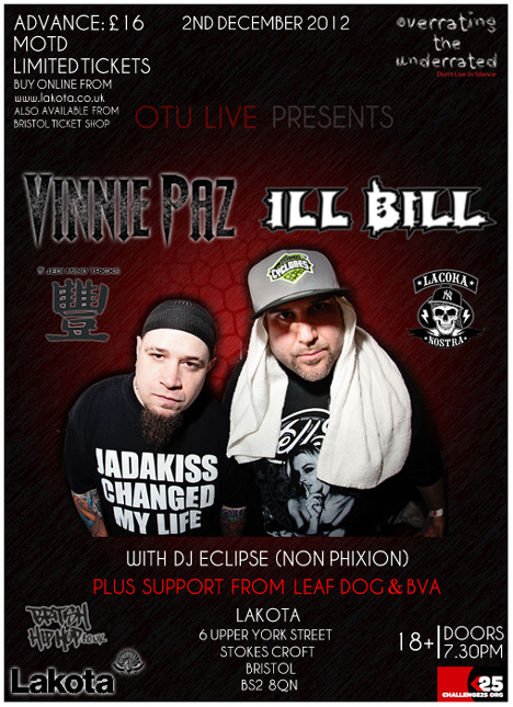 Ill Bill And Vinnie Paz (Heavy Metal Kings) To Perform In Bristol
