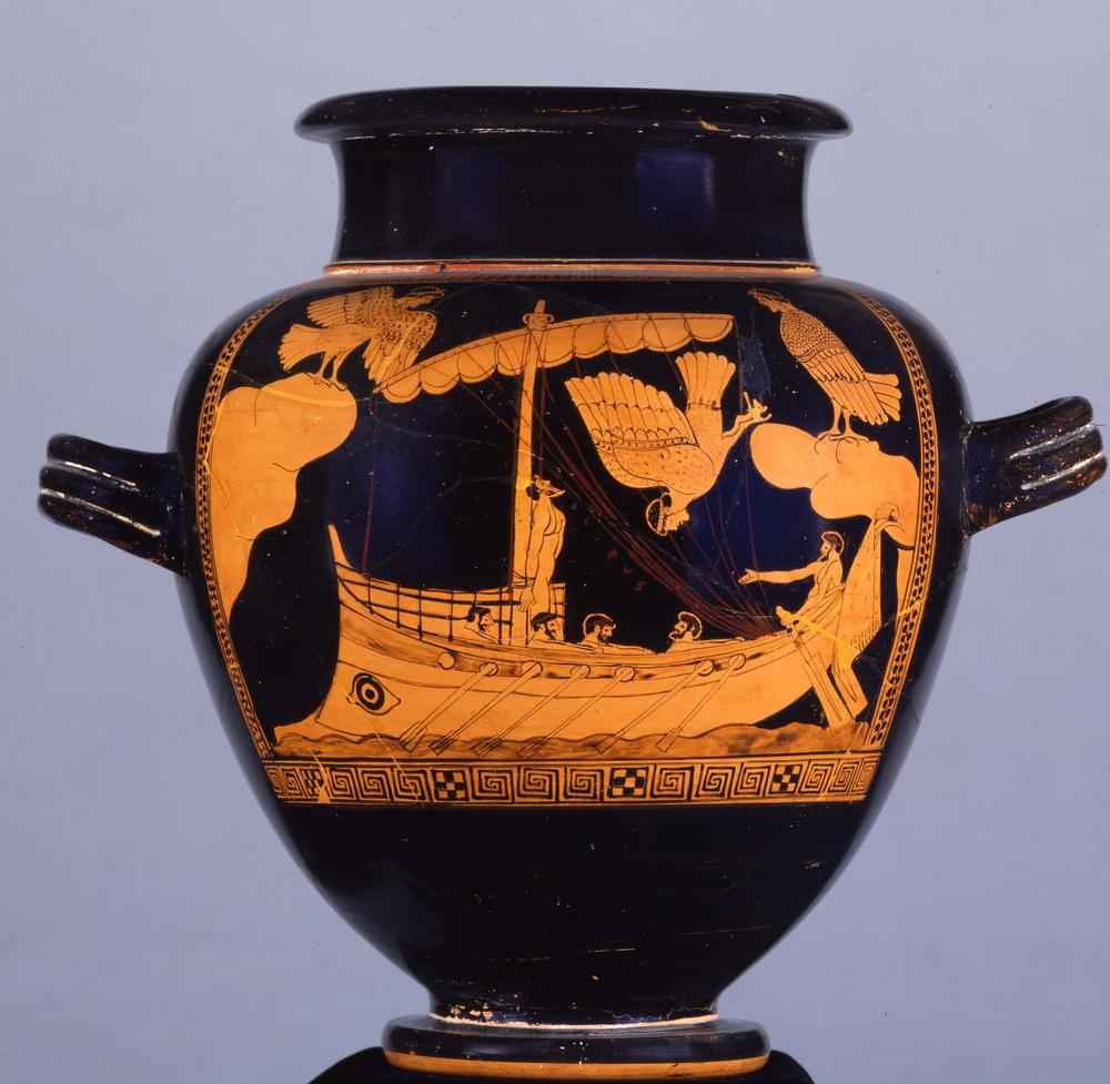 Red-figured stamnos (jar) showing Odysseus and the Sirens.