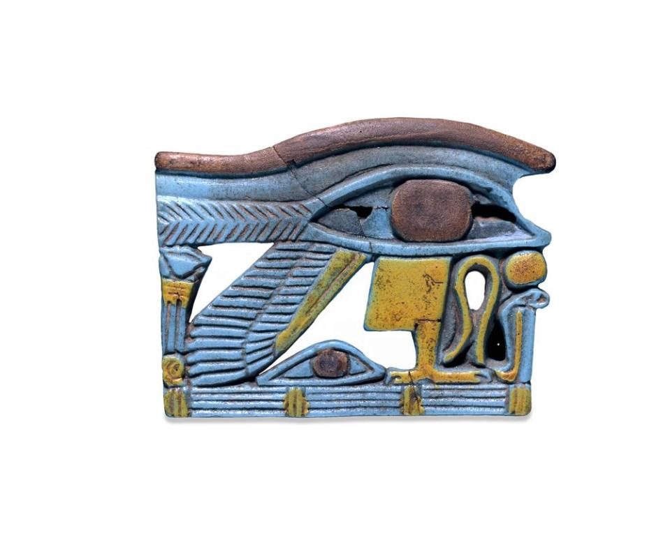 blue yellow and red eye of horus amulet from the British Museum
