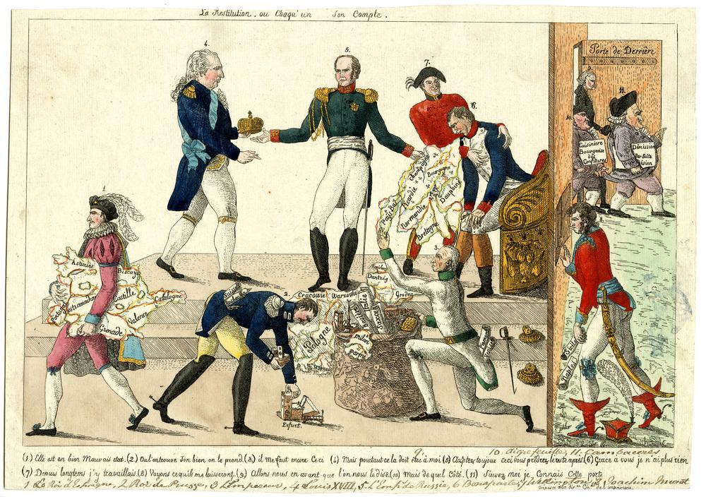 Satire on the re-ordering of Europe after the fall of Napoleon: eight crowned heads of Europe (numbered and explained in a key underneath) pull apart and re-order a map of Europe, while Cambacérès and other officials of the fallen régime exit through the