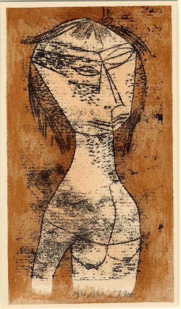 The saint of the inner light; semi-abstract HL, nude female. 1921 Colour lithograph, printed in brown and black