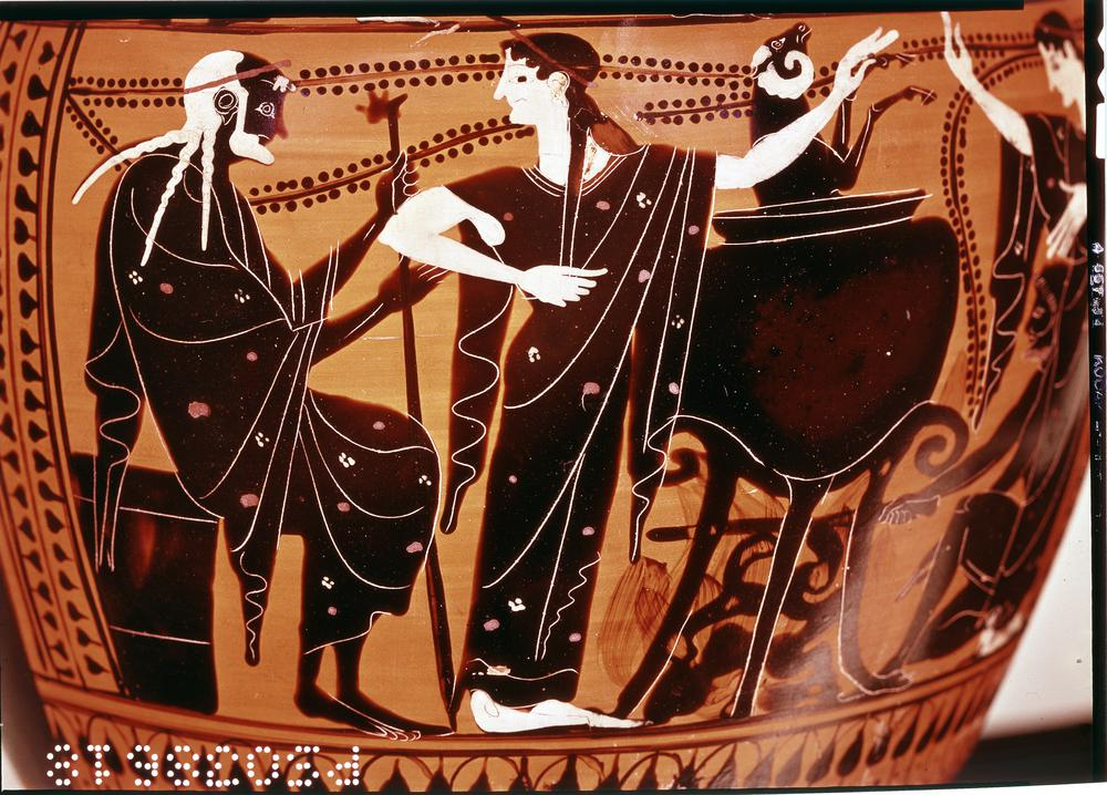 Pottery: black-figured hydria (water-jar): Medea, Pelias and Peliad (shoulder: men and women with goat).