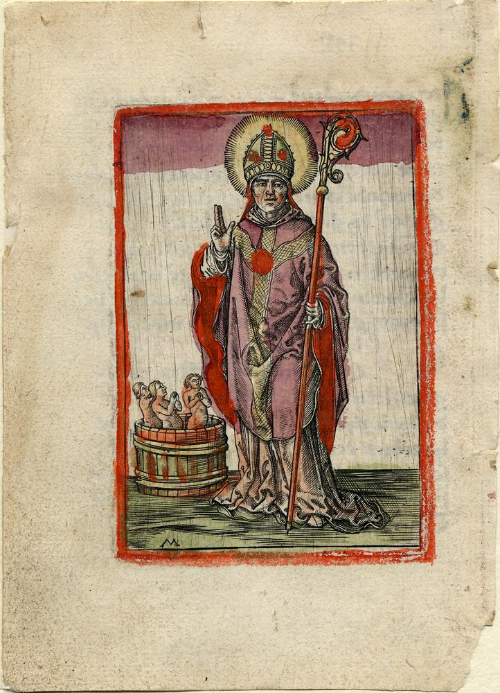 St Nicholas of Bari, whole length, in bishop's dress, with a bucket containing three naked figures (pickled children) bl; size of sheet (132.00 x 95.00 mm); with extensive Flemish manuscript calligraphy on verso in brown and red ink<br />Engraving with hand-colour