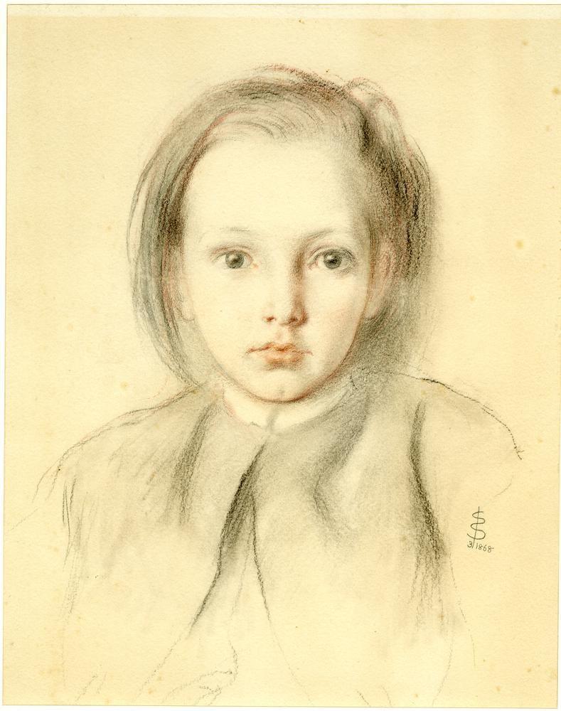 Portrait of a young girl or boy (?); almost half-length, turned and looking to front. 1868 Black and red chalk