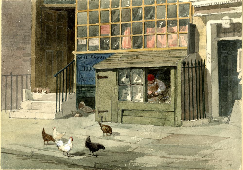 Cobbler's Stall, Great Ormond Street; a small shack on the pavement, built against the side of a wall beneath a shop window, within the shack and visible through an open window sits a cobbler, working on a shoe, in the street outside there are chickens, and to the left a small dog sits on the steps leading up to a doorway.  1850  Watercolour with bodycolour over graphite