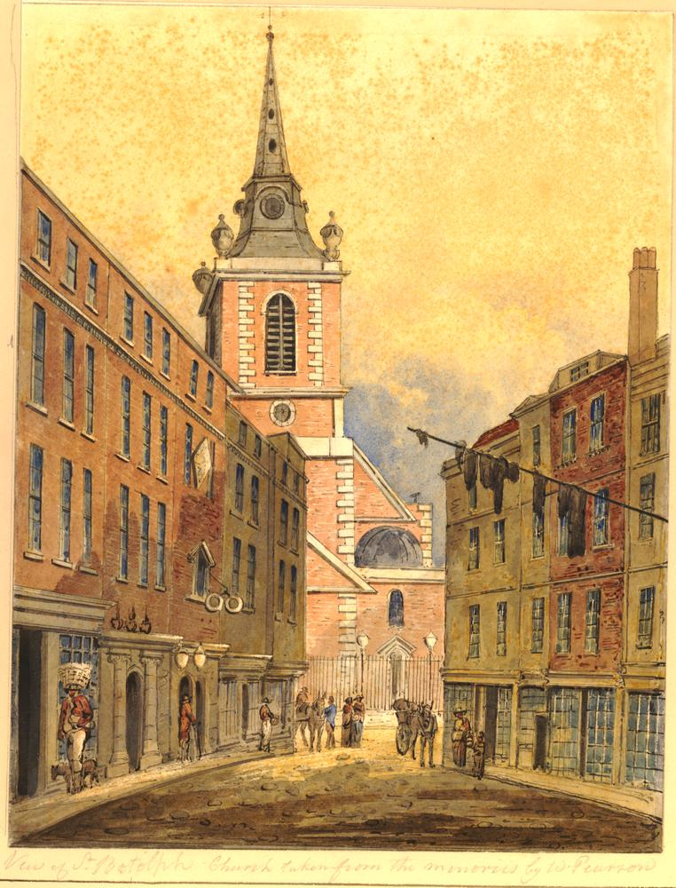 Old houses on the north west corner of the Minories and Aldgate, looking towards St Botolph church; figures on street.  1810 Watercolour