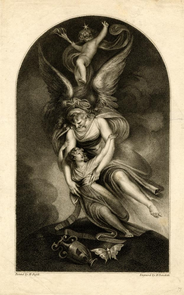 An angel taking a young girl in her arms, a cherub above with flaming torch and crowned by a star, in the foreground an overturned urn lies beside a butterfly; after a painting by Fuseli (Schiff 980), frontispiece to Sir Brooke Bothby's 'Sorrows'. 1796 Stipple and etching