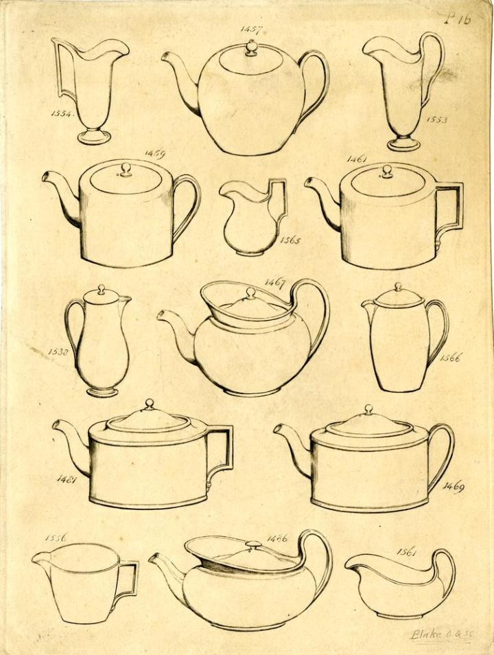 "Proof; ""P 16"", from Wedgwood's Catalogue of Earthenware and Porcelain (attributed title); designs reproducing 14 Wedgwood items, numbered ""1457"", ""1554"", ""1553"", ""1459"", ""1461"", ""1565"", ""1467"", ""1538"", ""1566"", ""1481"", ""1469"", ""1556"", ""1486"" and ""1561"". c.1816 Engraving and etching"