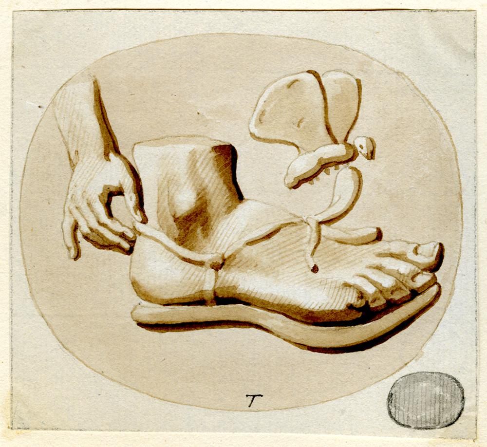 Glass paste engraved with a hand fastening a sandal on a right foot, with a butterfly above (BM 1814,0704.2306).  Pen and ink with brown wash on a sheet of paper, which is stuck down onto a second sheet watermarked '1794 J WHATMAN' together with 2010,5006.675- 679; the assemblage framed in a red ink border.