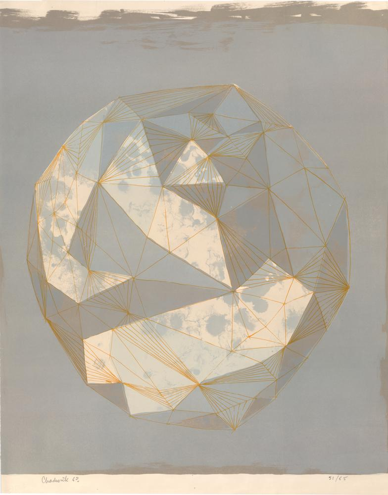 Semi-abstract composition with geometric patterns over moon-like sphere. 1963 Colour lithograph, printed in grey, pale blue and orange
