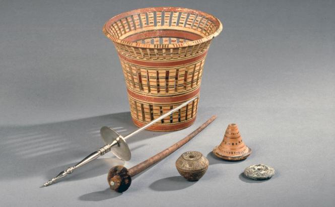 Przęśliki, wrzeciono i przęślica z Bursy, Turcja I w. n.e