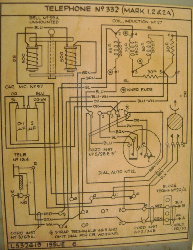 Candlestick Telephone Wiring Diagram : Rotary dial telephone wiring diagram at t phone box