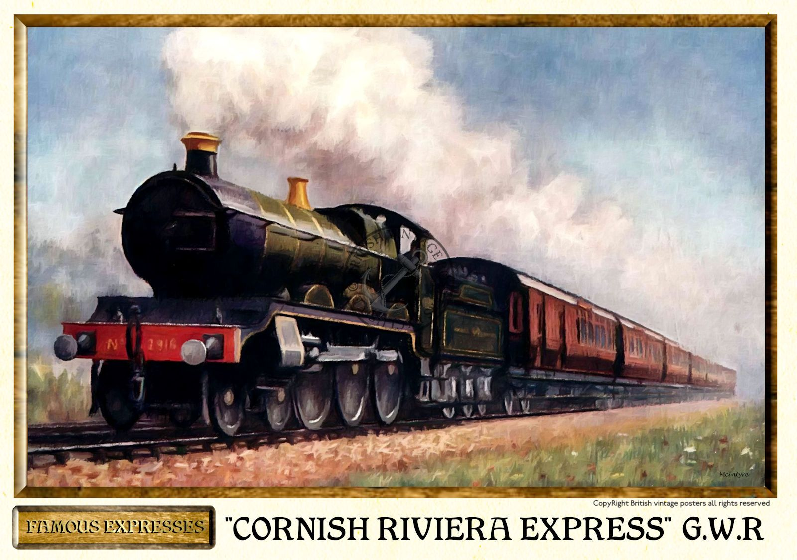 GWR Cornish Riviera Express Vintage Steam Train Poster