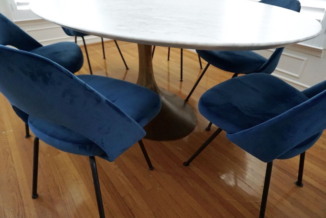 custome made blue chairs on wood floors by BE