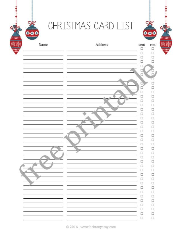 photo regarding Printable Christmas Card List known as Xmas Card Checklist Totally free Printable Diary of a Southern Mrs.