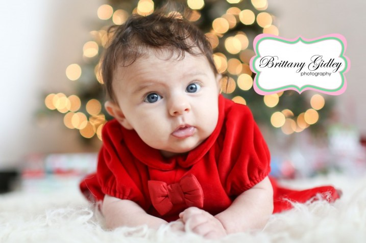 3 Month Old Poses | Christmas Tree Light Bokeh | Brittany Gidley Photography LLC