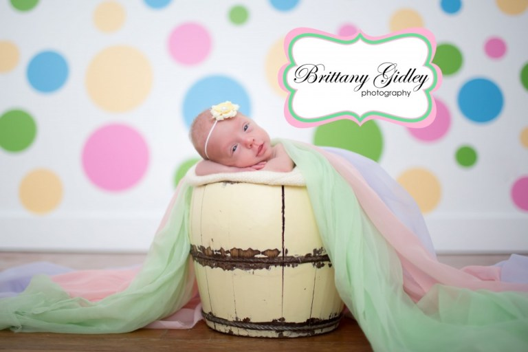 Newborn Portrait Session | Bucket Pose | Prop Up Pose | Brittany Gidley Photography LLC