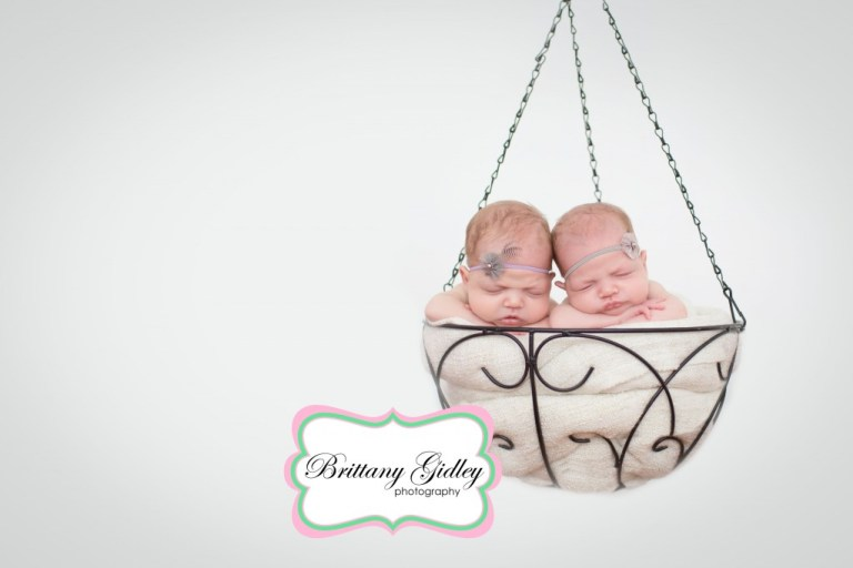 Newborn Twins | Start With The Best | Photography | Hanging Basket | Brittany Gidley Photography LLC