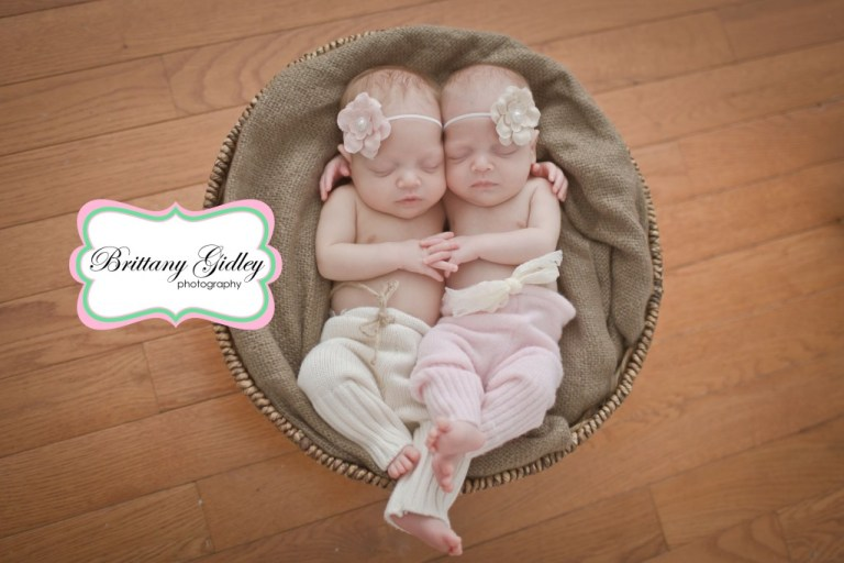 Details | Twins | Newborns | Basket | Brown Pink Cream | Brittany Gidley Photography LLC